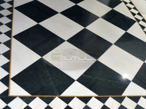Indian Green Marble with white marble flooring